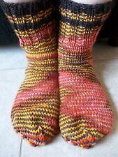 Hand knitted 100% wool socks, Lotus - orange, brown, yellow, beige tones