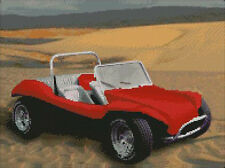 "Red Beach Buggy on Sand Counted Cross Stitch Kit 14"" x 10.5"" 35.6cm x 26.9cm"