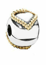 Sterling Silver & 14K Braided Heart Pandora Clip Number 790599