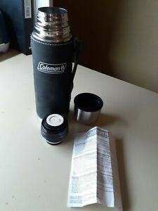 ❤️Coleman 16 ounce Stainless Steel Vacuum Bottle Black Leather Sheath Handle❤️