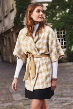 NWT Anthropologie Elevenses Houndstooth Wrap Coat, Size M/L, Cape style  $188