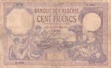 #Banque de Algeria 100 Francs 1929 P-81 VG El Gourara Oases