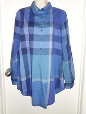 BURBERRY BRIT Blue Plaid Nova Check Long Sleeve Button Down Tunic Blouse Top XL