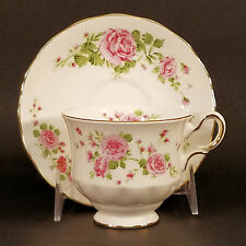 Tea Cup Saucer Avon England Fine Bone China Pink Roses Floral 1974 Teacup