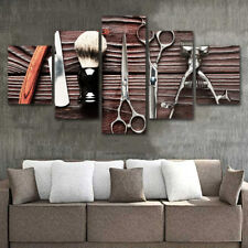 Haircut Makeup Tools Scissors Brushes 5 pieces Canvas Wall Poster Home Decor