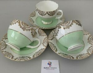 Penvearn Bone China 3 Tea Cups And Saucers Green And Gold Vintage #5479