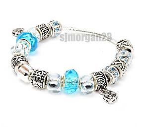 925  Silver Aqua Blue or Pink Charm Bracelet. Snake Chain Murano Beads. UK