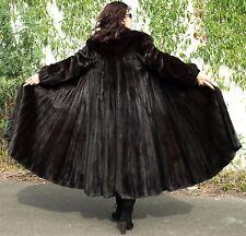 Nerzmantel Dark Saga Mink Nerz Swinger 340cm Pelzmantel Female XS S Schwarzbraun
