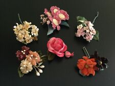 Vintage Millinery Velvet Silk Flowers Roses Daisies Corsage/Hat Pin Craft Lot/6