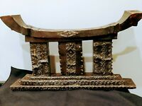 Antique Carved African Ashanti Decorative Wooden Stool Dwa Metal detail Tribal
