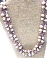 Vintage VENDOME 2-Strand Sugar Bead, Baroque Pearl & AB Crystal Glass Necklace