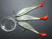 SUPER Esca Pesce Shad Rig 3 x 2/0 Ganci Barca Pier BASS cod LENZA DA PESCA MARE Clip