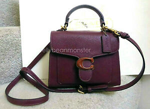 COACH 4608 Tabby Top Handle 20 Leather Shoulder Bag Crossbody Purse Wine NEW
