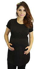 Black Short Sleeve Maternity Pregnant Clothing Lace Solid Work Wear Floral