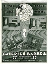 Publicité ancienne meuble Galeries Barbès Paris 1929 issue de magazine