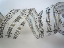 5yds Ivory Black Sheet Music Notes Burlap Wired Ribbon Wedding Christmas Wreath