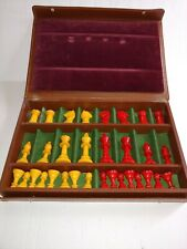 Vintage Bakelite Chess Set Pieces Complete Set In Case
