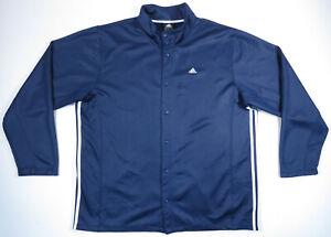 Adidas 3 Stripe Basketball Logo Full Snap Blue Mens Warm Up Shooting Jacket 2XT