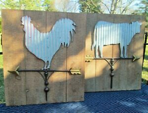 Creative Co-op Country Farm Faux Barn Wood & Tin Weather Vane Sign Chicken / Cow