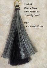 Horsehair Shu Fly tassel, layers, gray/Black, horsehair shoo fly tassel, X-thick