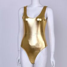 Sexy Women's Gold Gymnastics Swimsuit Sexy Lingerie Leotard Thong Bodysuit