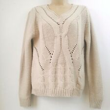 LOVE TREE HAPPENS Medium Ivory Sweater Cable Knit Long Sleeve Pullover B3