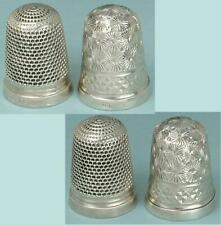 2 Antique English Sterling Silver Thimbles by Charles Horner * Hallmarked 1912