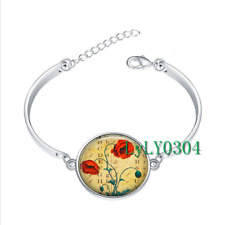 Antique Poppy glass cabochon Tibet silver bangle bracelets wholesale