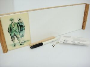 "Golfers Ceramic Tile on White Message Memo Board Oak Frame 18.5"" x 6"" Dry Erase"