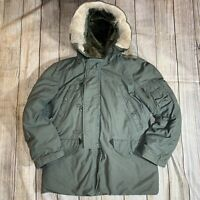 Vintage Army Air Force Extreme Cold Weather Parka Fur Hooded Jacket N-3B Mens S