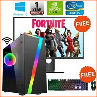 Fast Gaming PC Computer Bundle Monitor i5 Quad Core 8GB 1TB Win 10 2GB GT710