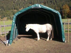 Weidezelt Unterstand Zelt Lagerzelt Lagerunterstand 3,6x9,6x2,7 GRÜN PVC 550g