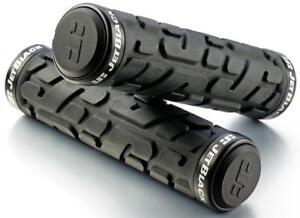JetBlack Rivet MTB Locking Handlebar Grips Bike Lock-On Grip Jet BLACK