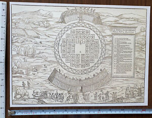 Historic Antique Old Vintage MAP 1500's: The Land of Hochelaga, America: Reprint