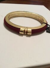 VInce Camuto Belle Of The Bazaar Gold Tone RED Suede Inlay Hinged Bangle $48 V15