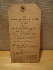 VINTAGE LANDERS, FRARY & CLARK UNIVERSAL FOOD CHOPPER HANG TAG PAT 1897 USA