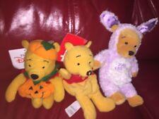 Disney 3 X Winnie The Pooh Beanies. See Photos.