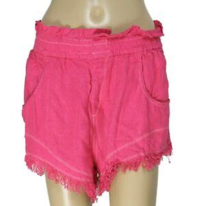 Isabel Marant Talapiz Short Neon Pink Pocket Button Fringes Silk New X Large XL