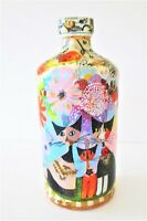 Abstract Collage Decoupage Upcycled Glass Decor ART Bottle Cats 473ml