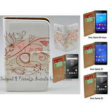 For Xperia XZ Premium - Retro Floral Print Flip Wallet Phone Case Cover