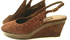 VAN ELI  Dark Brown Suede Wedge Slingbacks Peep Toe Shoes Womens 9M Free Ship