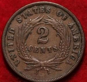 1869 Copper Philadelphia Mint Two Cent Coin