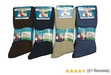 12 pairs Mens 100% Cotton Diabetics Assorted Non-Elastic Socks, Soft Top Rib
