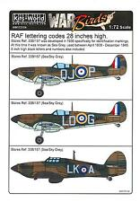"Kits World Decals 1/72 BRITISH RAF 28"" SEA GRAY LETTERING CODES & 8"" BLACK CODES"