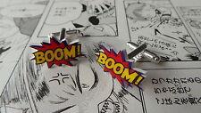 Boom! Cufflinks - Rockabilly Comic Book Hero Wedding Groom Retro Vintage Red