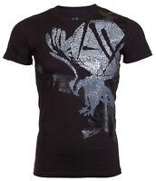Armani Exchange EAGLE Mens Designer T-SHIRT Premium BLACK Slim Fit $45 NWT