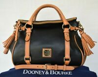 Dooney & Bourke Black tan City calf Florentine doctors satchel tassel $478