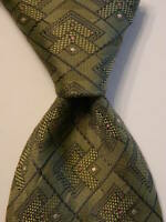 JOS. A. BANK Men's Silk XL Necktie ITALY Luxury Geometric Green/Gray/Pink NWT