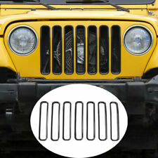 Fit For Jeep Wrangler TJ 1997-06 ABS Black Front Bumper Center Hood Grill Frame