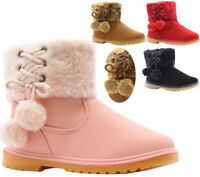 KIDS GIRLS HI TOP FAUX FUR LINED FLAT WARM WINTER ANKLE TRAINER BOOTS SHOES SIZE